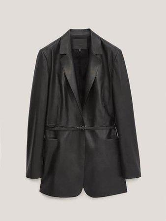 Μαύρο μπλέιζερ από δέρμα νάπα με ζώνη - Mulher - Massimo Dutti