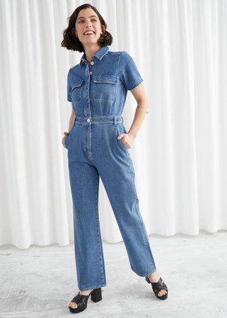 Boxy Denim Jumpsuit - Mid Blue - Jumpsuits & Playsuits - & Other Stories