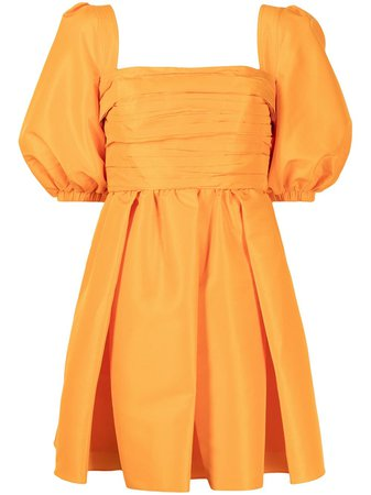 Shop Self-Portrait puff-sleeve flared dress with Express Delivery - FARFETCH