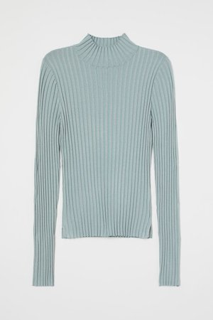 Ribbed Turtleneck Sweater - Light turquoise - Ladies | H&M US