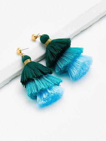 Color Block Tiered Tassel Drop Earrings