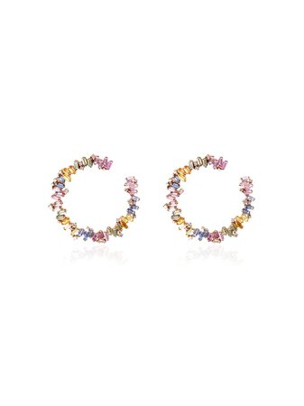 Suzanne Kalan 18kt Rose Gold Fireworks Sapphire And Hoop Earrings | Farfetch.com