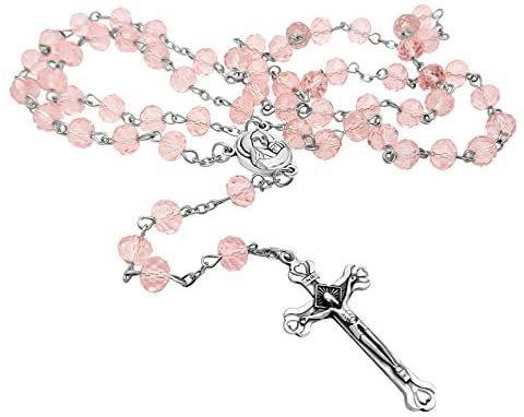 Light Pink Crystal Beads Rosary Catholic Necklace Holy Soil Medal & Crucifix Brand Velvet Bag: Home & Kitchen