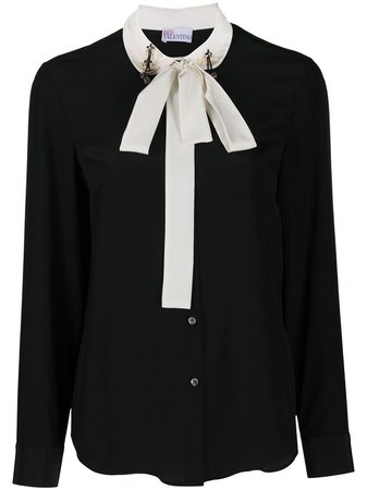 Shop black RedValentino two-tone pussybow blouse with Express Delivery - Farfetch