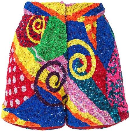 swirl patchwork sequin shorts
