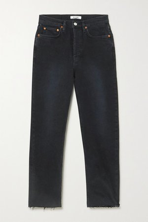 Stove Pipe Cropped Distressed High-rise Straight-leg Jeans - Black