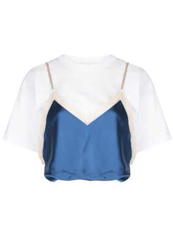 Shop blue & white Alexander Wang draped satin camisole T-shirt with Express Delivery - Farfetch