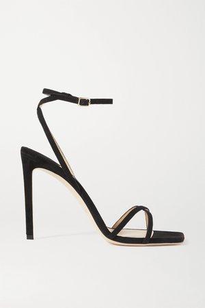 Black Metz 100 suede sandals | Jimmy Choo | NET-A-PORTER