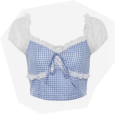 Plaid Pastel Crop w/ Lace Ruffled Sleeves