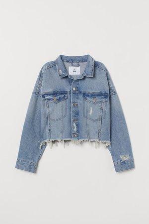 Short Denim Jacket - Denim blue/trashed - Ladies | H&M US