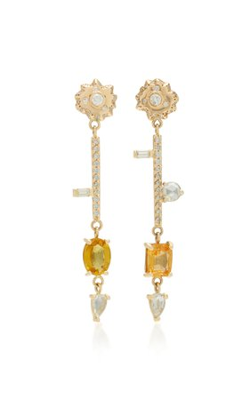 14K Gold, Diamond And Yellow Sapphire Earrings by SCOSHA | Moda Operandi