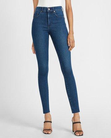 High Waisted Raw Step Hem Skinny Jeans