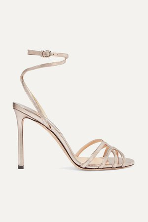 Platinum Mimi 100 metallic leather sandals | Jimmy Choo | NET-A-PORTER