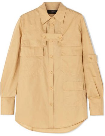 Wesley Layered Cotton And Silk-blend Shirt - Camel