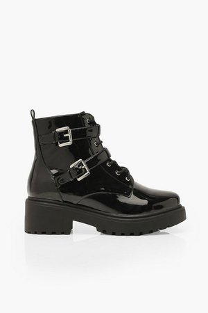 Wide Fit Patent Lace Up Hiker Boots | Boohoo black