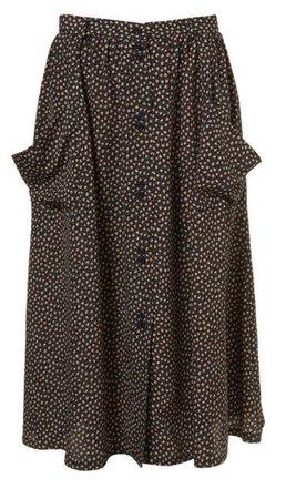 long brown polka dot skirt png