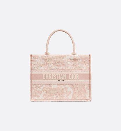 Small Dior Book Tote Pink Multicolor Toile De Jouy Embroidery - Bags - Women's Fashion | DIOR