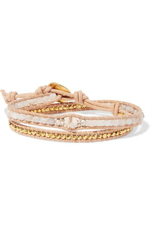 Chan Luu | Leather, gold-plated and agate wrap bracelet | NET-A-PORTER.COM