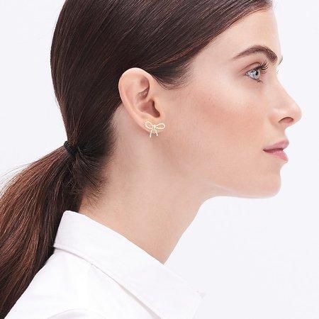Factory: Pearl Bow Stud Earrings For Women