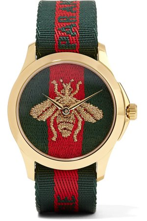 Gucci | Canvas and gold-tone watch | NET-A-PORTER.COM