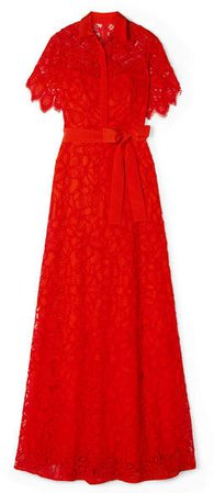 Corded Lace Gown - Red