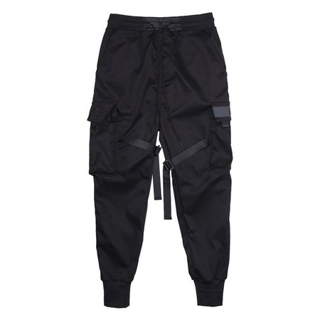 Wish | Men Cool Black Color Block Pocket Cargo Pants Street Fashion Hip Hop Elastic Feet Joggers Harajuku Sweatpant Comfort Harem Trousers