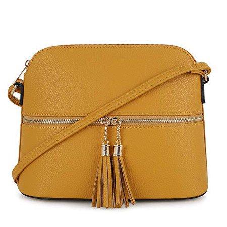 SG SUGU Lightweight Medium Dome Crossbody Bag with Tassel   Zipper Pocket   Adjustable Strap (Cognac): Handbags: Amazon.com
