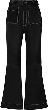 Satin-twill Flared Pants - Black