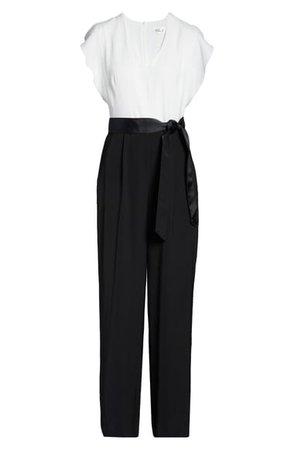 Eliza J Short Sleeve Two-Tone Jumpsuit   Nordstrom