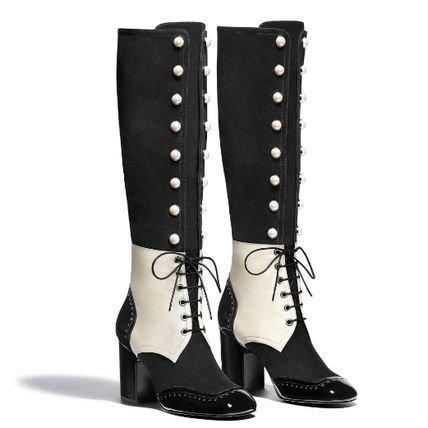 CHANEL Lace-up Plain Toe Lace-up Suede Blended Fabrics Bi-color Block Heels 2