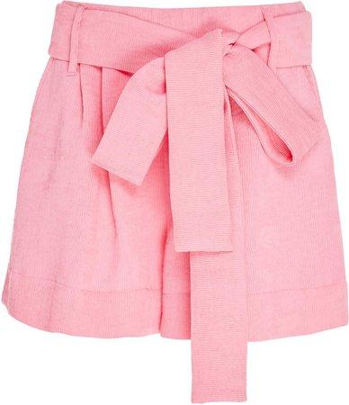 Staud Sage Tie-Detailed Plissé Shorts Size: 00