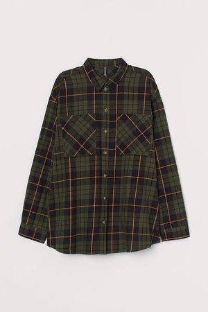 Checked Cotton Shirt - Green
