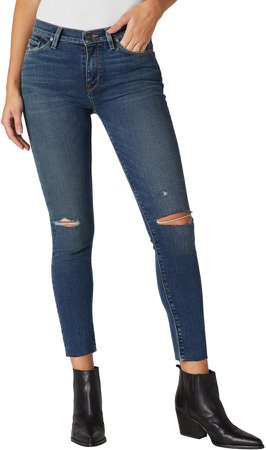 Nico Ripped Mid Rise Ankle Skinny Jeans