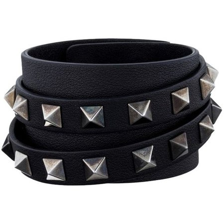 Pre-owned Valentino Rockstud Leather Cuff