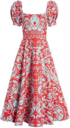 Fredia Puff Sleeve Midi Dress