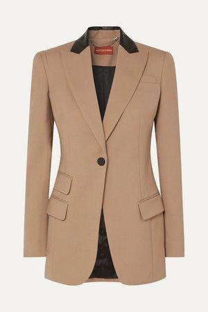 Altuzarra | Leather-trimmed stretch-wool blazer | NET-A-PORTER.COM