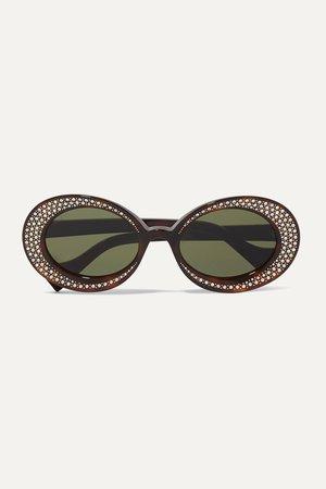 Tortoiseshell Crystal-embellished round-frame tortoiseshell acetate sunglasses | Gucci | NET-A-PORTER