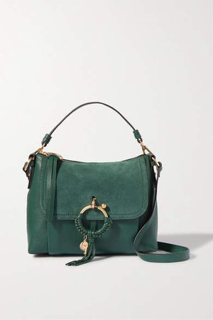 Joan Textured-leather And Suede Shoulder Bag - Emerald