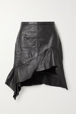 Black Asymmetric ruffled leather mini skirt | Alexander Wang | NET-A-PORTER