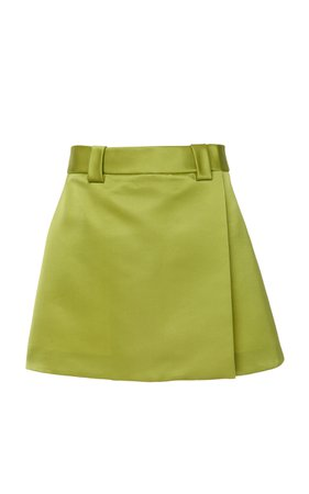 Satin Wrap-Effect Mini Skirt by Prada | Moda Operandi