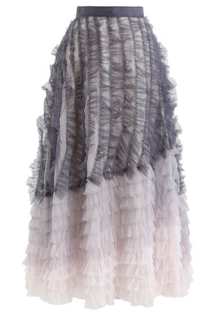 Chic Wish Gradient Tiered Ruffle Mesh Tulle Maxi Skirt - Retro, Indie and Unique Fashion