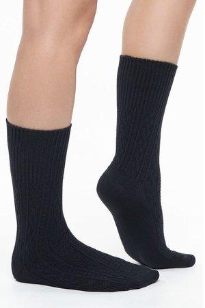 Bamboo Cable Knit Socks Navy & Black 2 Pairs - Bamboo Clothing