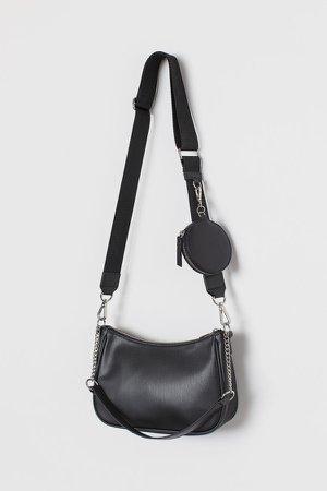 Shoulder Bag with Pouch Bag - Black