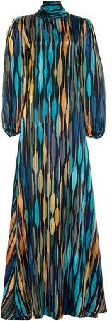 Aliette Printed Satin Maxi Dress