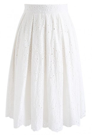Eyelet Beauty Pleated Skirt in White - Retro, Indie and Unique Fashion