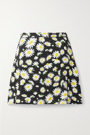 Floral-print Crepe Mini Skirt - Black