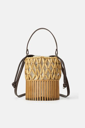 MINI BASKET BAG WITH NATURAL PIECES - View all-BAGS-WOMAN | ZARA United States