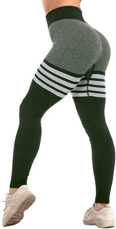 CFR Women's Tummy Control High Waisted Gym Sport Ombre Seamless Leggings Stretch Fit Pants Workout Tights #6 Gray L at Amazon Women's Clothing store