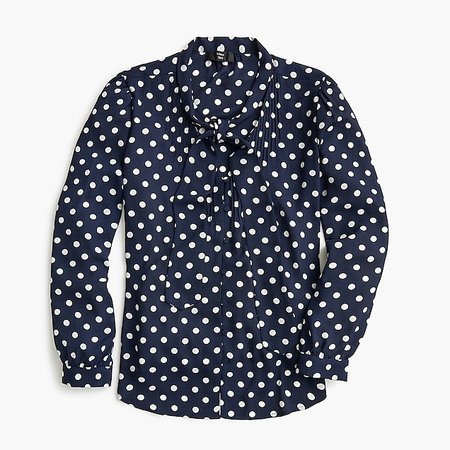 Drapey tie-neck top in polka dot - Women's Shirts | J.Crew