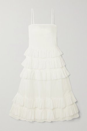 Wray Ruffled Tiered Cotton-voile Maxi Dress - White